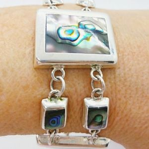 Abalone Shell Mexican Silver Toggle Bracelet